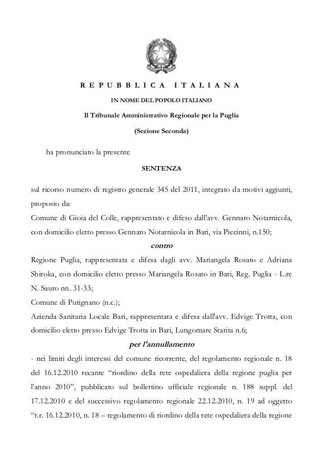 R E P U B B L I C A             I T A L I A N A                          IN NOME DEL POPOLO ITALIANO                 Il Tr...