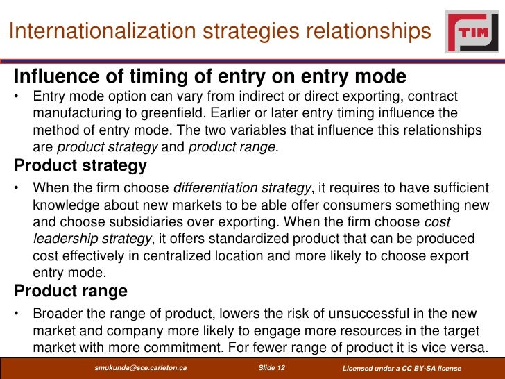 Internationalization strategies relationshipsInfluence of timing of entry on entry mode• Entry mode option can vary from i...