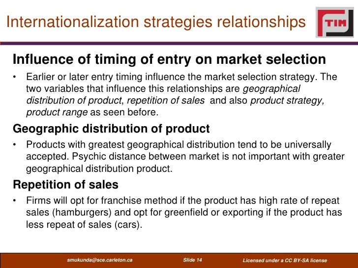Internationalization strategies relationships Influence of timing of entry on market selection • Earlier or later entry ti...