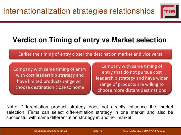 Internationalization strategies relationships   Verdict on Timing of entry vs Market selection      Earlier the timing of ...