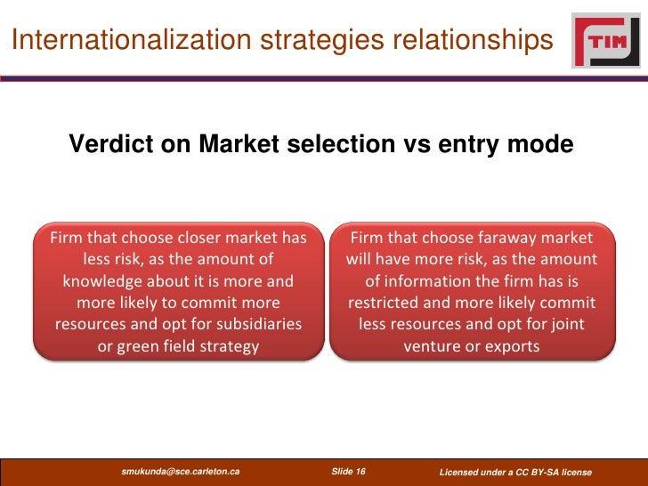 Internationalization strategies relationships     Verdict on Market selection vs entry mode   Firm that choose closer mark...