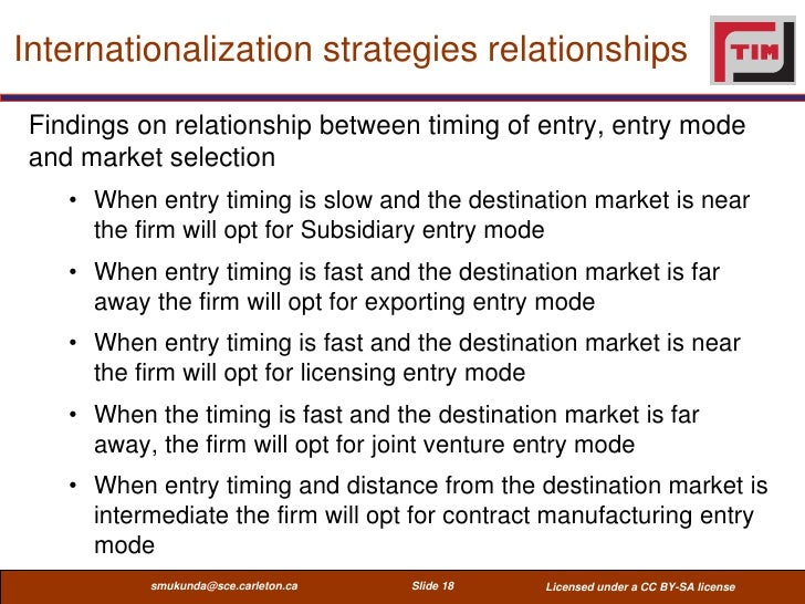 Internationalization strategies relationships Findings on relationship between timing of entry, entry mode and market sele...