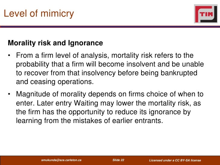 Level of mimicryMorality risk and Ignorance• From a firm level of analysis, mortality risk refers to the  probability that...
