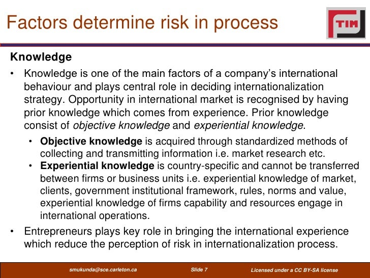 Factors determine risk in processKnowledge• Knowledge is one of the main factors of a company's international  behaviour a...