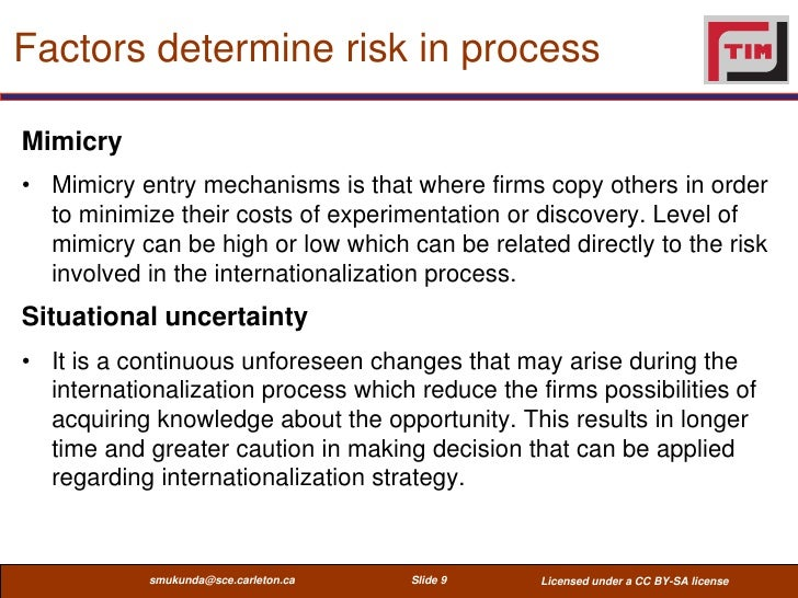 Factors determine risk in processMimicry• Mimicry entry mechanisms is that where firms copy others in order  to minimize t...
