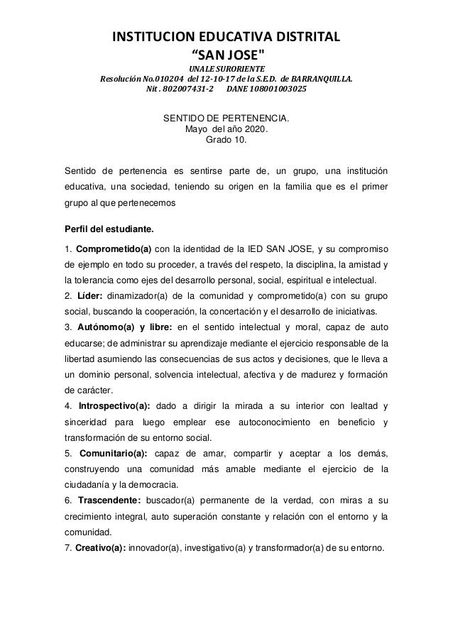 """INSTITUCION EDUCATIVA DISTRITAL """"SAN JOSE"""" UNALE SURORIENTE Resolución No.010204 del 12-10-17 de la S.E.D. de BARRANQUILLA..."""