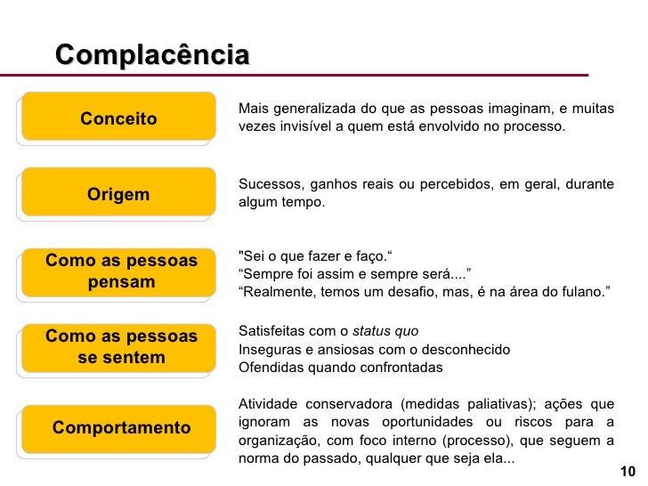 Complacência Conceito Origem Como as pessoas pensam Como as pessoas se sentem Comportamento Mais generalizada do que as pe...