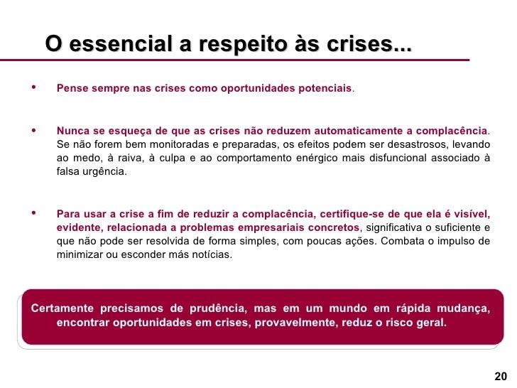 O essencial a respeito às crises... <ul><li>Pense sempre nas crises como oportunidades potenciais . </li></ul><ul><li>Nunc...