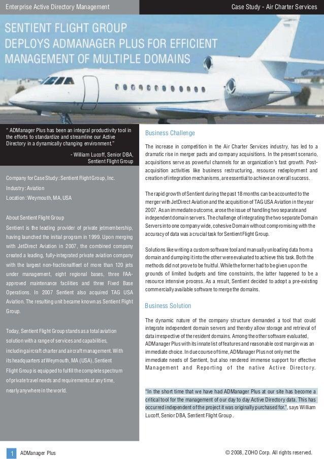 "Case Study - Air Charter Services  Enterprise Active Directory Management  "" ADManager Plus has been an integral productiv..."