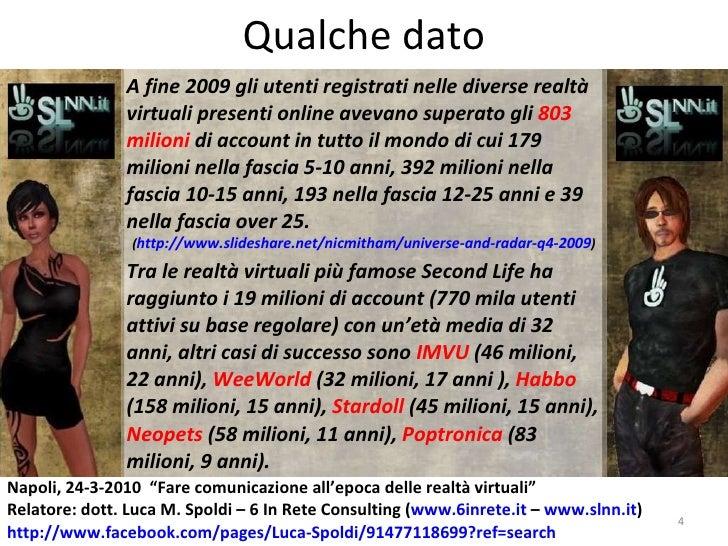 Qualche dato A fine 2009 gli utenti registrati nelle diverse realtà virtuali presenti online avevano superato gli  803 mil...