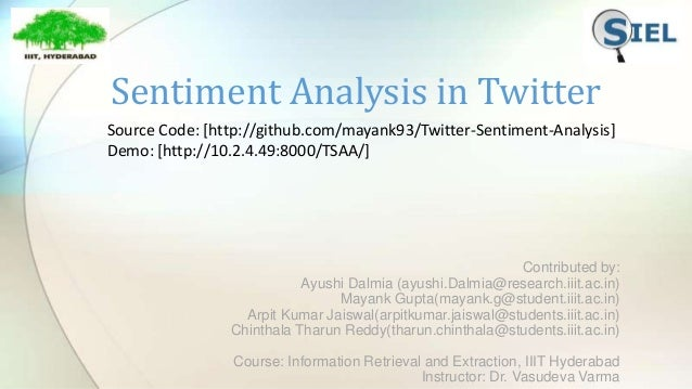 Sentiment Analysis in Twitter Contributed by: Ayushi Dalmia (ayushi.Dalmia@research.iiit.ac.in) Mayank Gupta(mayank.g@stud...