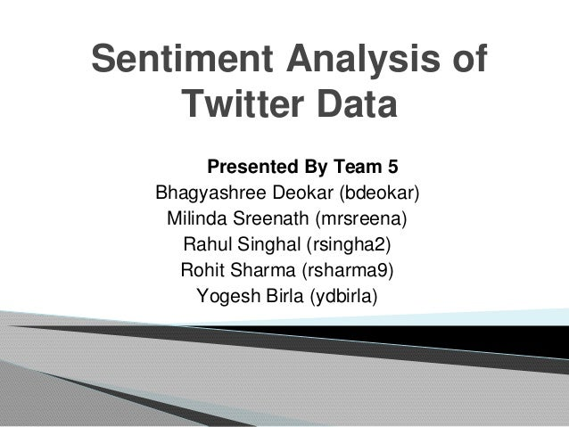 Sentiment Analysis of Twitter Data Presented By Team 5 Bhagyashree Deokar (bdeokar) Milinda Sreenath (mrsreena) Rahul Sing...