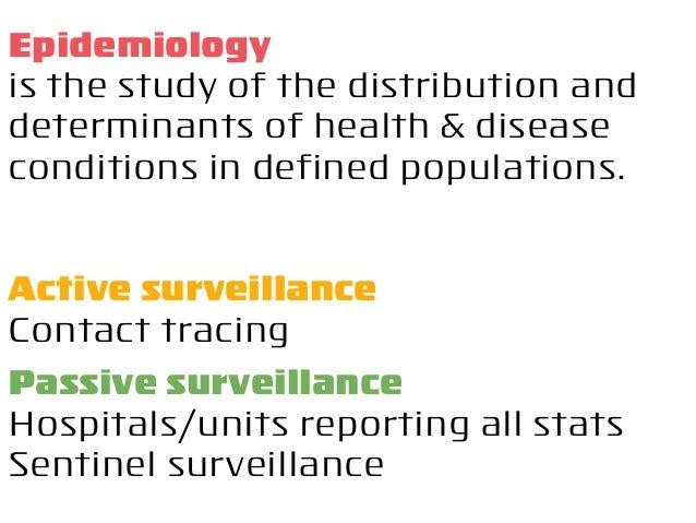 Active surveillance Contact tracing Passive surveillance Hospitals/units reporting all stats Sentinel surveillance Epidemi...