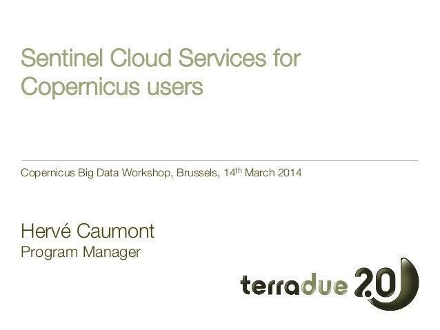 "Sentinel Cloud Services for Copernicus users Copernicus Big Data Workshop, Brussels, 14th March 2014    Hervé Caumont"" Pro..."