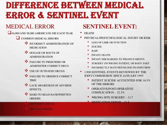 hospital sentinel event The 10 most common sentinel events reviewed by the joint commission did  joint commission: 10 most common sentinel events of 2016  to receive the latest hospital and health system business.