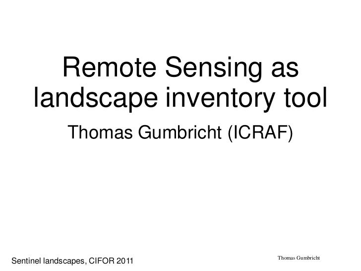 Remote Sensing as     landscape inventory tool              Thomas Gumbricht (ICRAF)                                    Th...