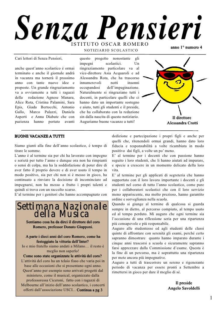 Senza Pensieri                     ISTITUTO OSCAR ROMERO                                             NOTIZIARIO SCOLASTICO...