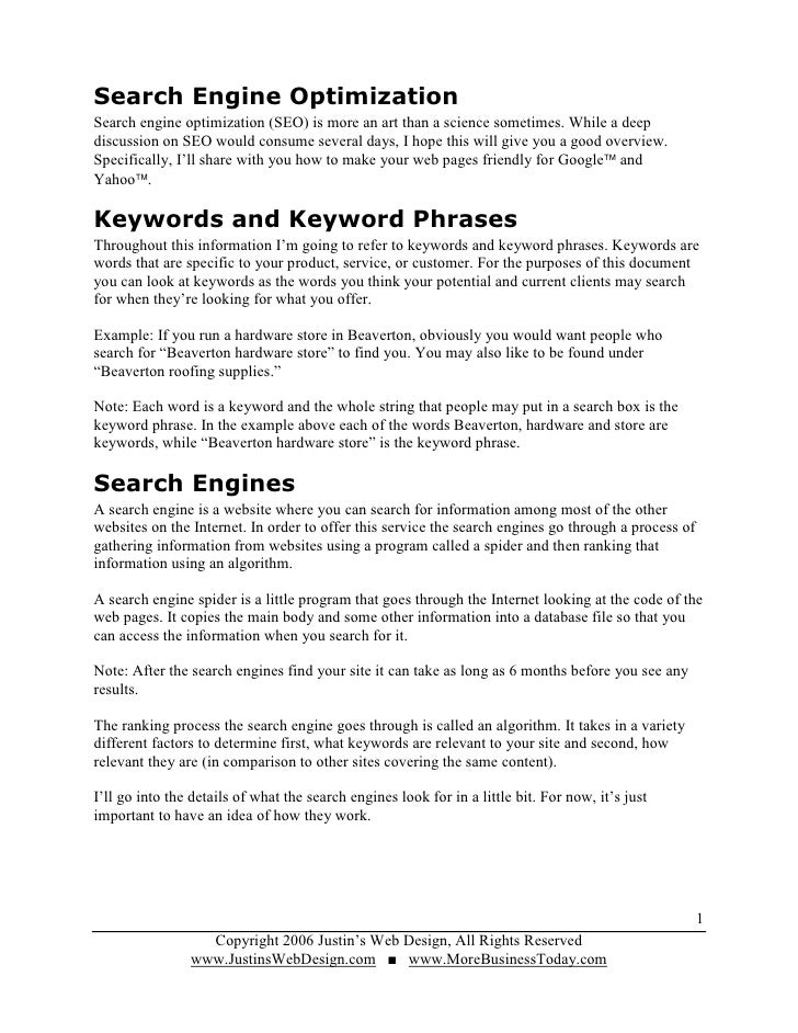 Search Engine Optimization Search engine optimization (SEO) is more an art than a science sometimes. While a deep discussi...