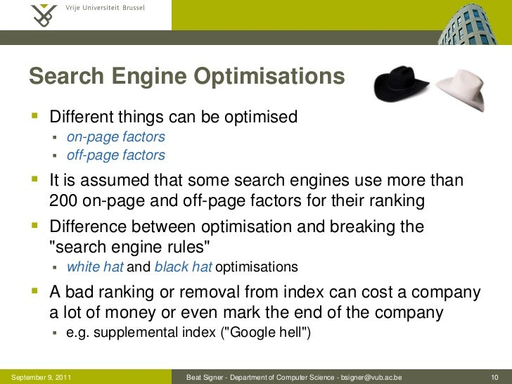 Search Engine Optimisations      Different things can be optimised              on-page factors              off-page f...