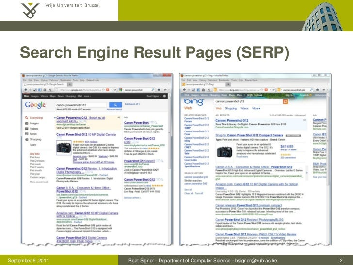 Search Engine Result Pages (SERP)September 9, 2011   Beat Signer - Department of Computer Science - bsigner@vub.ac.be   2