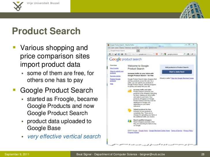 Product Search      Various shopping and          price comparison sites          import product data              some ...