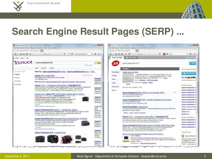 Search Engine Result Pages (SERP) ...September 9, 2011   Beat Signer - Department of Computer Science - bsigner@vub.ac.be ...