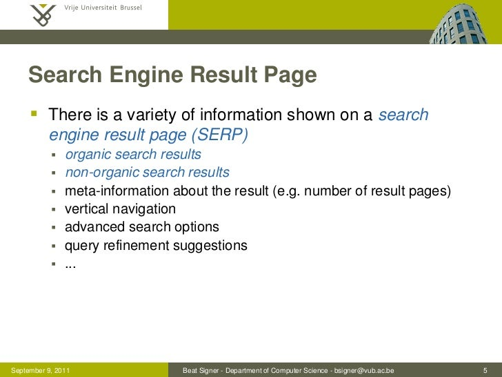 Search Engine Result Page      There is a variety of information shown on a search          engine result page (SERP)    ...