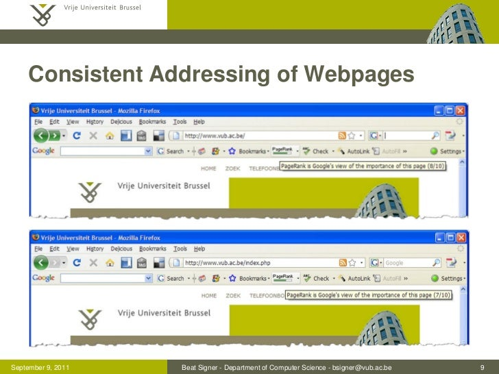 Consistent Addressing of WebpagesSeptember 9, 2011   Beat Signer - Department of Computer Science - bsigner@vub.ac.be   9