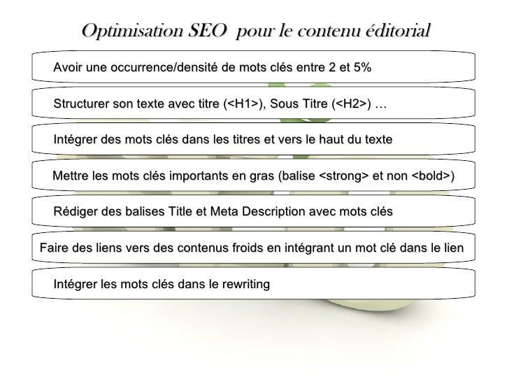 Optimisation SEO  pour le contenu éditorial Avoir une occurrence/densité de mots clés entre 2 et 5% Structurer son texte a...
