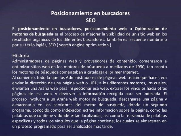 Posicionamiento en buscadores                                 SEOEl posicionamiento en buscadores, posicionamiento web u O...