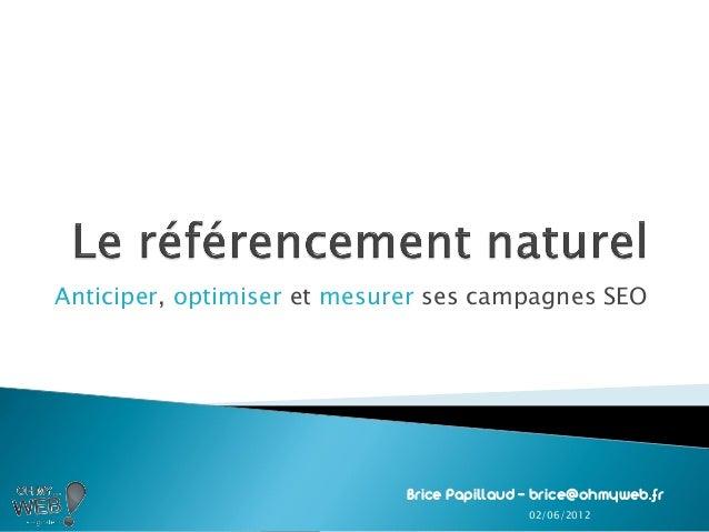 Anticiper, optimiser et mesurer ses campagnes SEOBrice Papillaud – brice@ohmyweb.fr02/06/2012