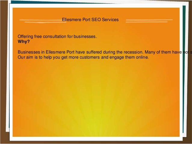 Ellesmere Port SEO Services  Offering free consultation for businesses. Why?  Businesses in Ellesmere Port have suffered d...