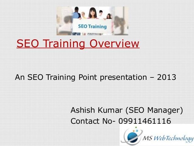 SEO Training Overview An SEO Training Point presentation – 2013 Ashish Kumar (SEO Manager) Contact No- 09911461116