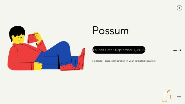 15 Possum Hazards: Tense competition in your targeted location. Launch Date : September 1, 2013