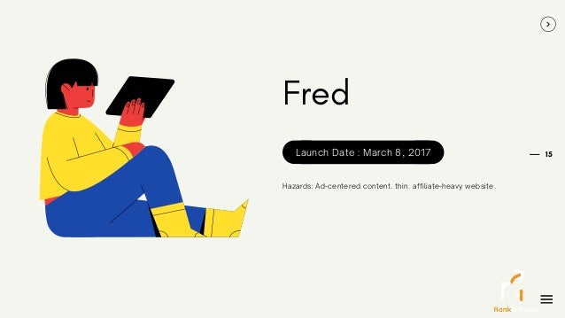 15 Fred Hazards: Ad-centered content. thin. affiliate-heavy website. Launch Date : March 8, 2017