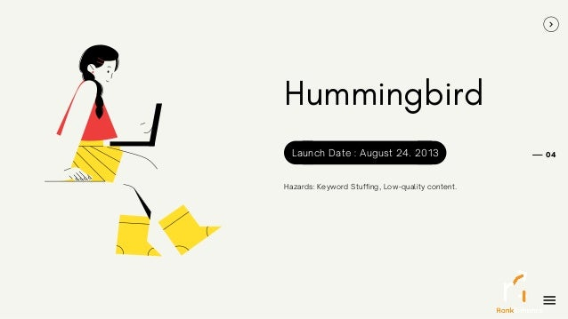 Hummingbird Hazards: Keyword Stuffing, Low-quality content. 04 Launch Date : August 24. 2013