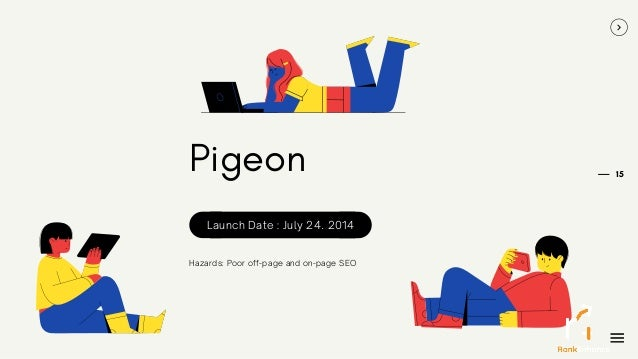 15 Pigeon Hazards: Poor off-page and on-page SEO Launch Date : July 24. 2014