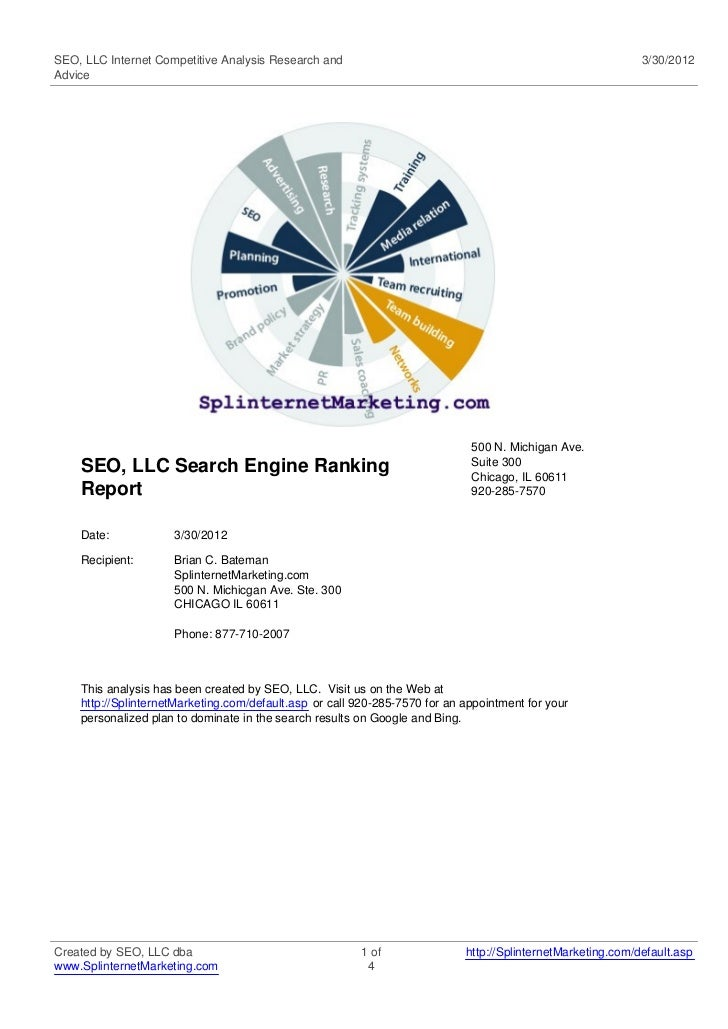 SEO, LLC Internet Competitive Analysis Research and                                                          3/30/2012Advi...