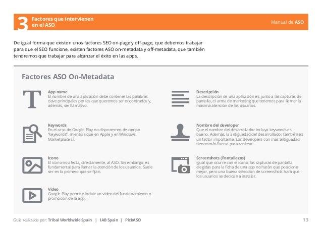 Manual de ASO  Factores que intervienen  en el ASO  De igual forma que existen unos factores SEO on-page y off-page, que d...