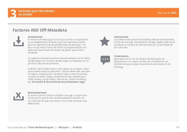 Manual de ASO  Factores que intervienen  3 en el ASO  Instalaciones  El número de descargas con las que cuenta una aplicac...