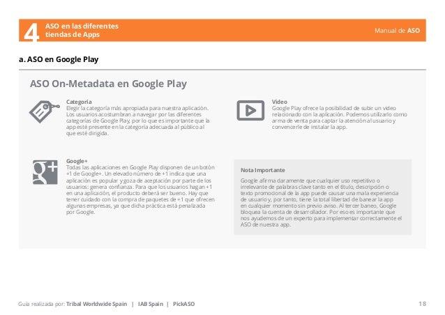 Manual de ASO  ASO On-Metadata en Google Play  Categoría  Elegir la categoría más apropiada para nuestra aplicación.  Los ...