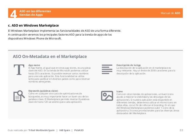 Manual de ASO  ASO en las diferentes  4 tiendas de Apps  c. ASO en Windows Marketplace  El Windows Marketplace implementa ...