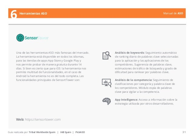 Manual de ASO  Una de las herramientas ASO más famosas del mercado.  La herramienta está disponible en todos los idiomas, ...