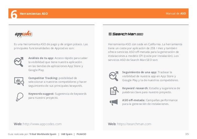 Manual de ASO  Es una herramienta ASO de pago y de origen polaco. Las  principales funcionalidades de Appcod.es son:  Herr...