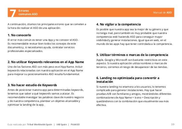 Manual de ASO  A continuación, citamos los principales errores que se cometen a  la hora de realizar el ASO de una aplicac...