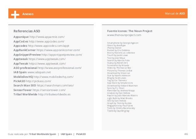 Manual de ASO  + Anexos  Referencias ASO  Appanique http://www.appannie.com/  AppCod.es http://www.appcodes.com/  Appcodes...