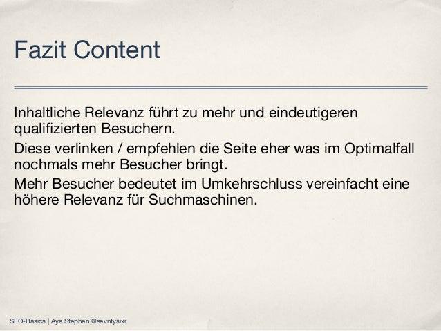 Inhaltliche Relevanz führt zu mehr und eindeutigeren qualifizierten Besuchern. Diese verlinken / empfehlen die Seite eher w...