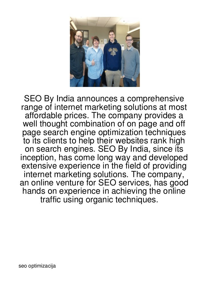 SEO By India announces a comprehensive range of internet marketing solutions at most   affordable prices. The company prov...
