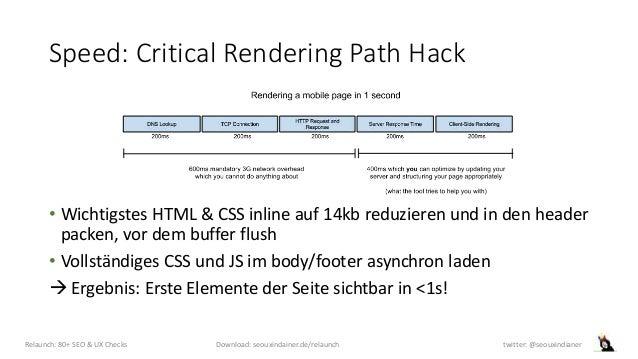 Speed: Critical Rendering Path Hack • Wichtigstes HTML & CSS inline auf 14kb reduzieren und in den header packen, vor dem ...