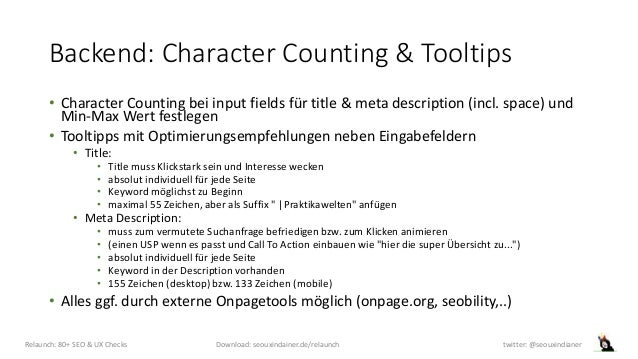 Backend: Character Counting & Tooltips • Character Counting bei input fields für title & meta description (incl. space) un...